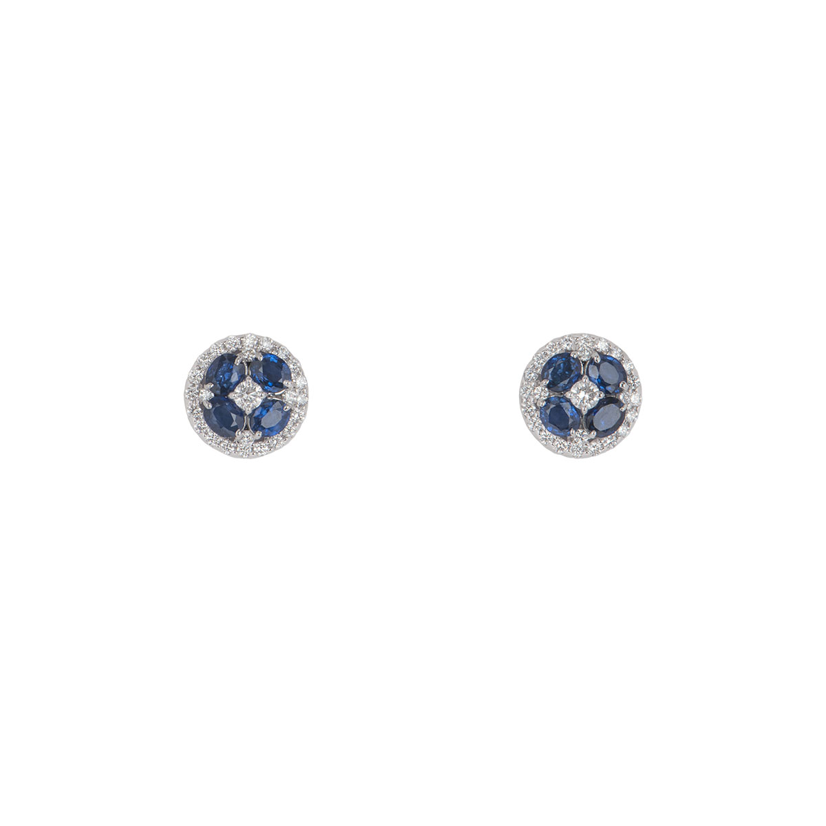 White Gold Diamond And Sapphire Floral Earrings